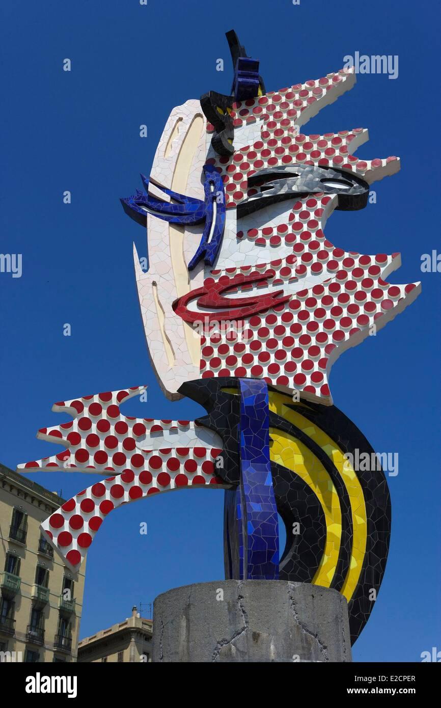 Spain Catalonia Barcelona sculpture Cap de Barcelona (1992) head of Barcelona by ??the American artist Roy Lichtenstein Stock Photo