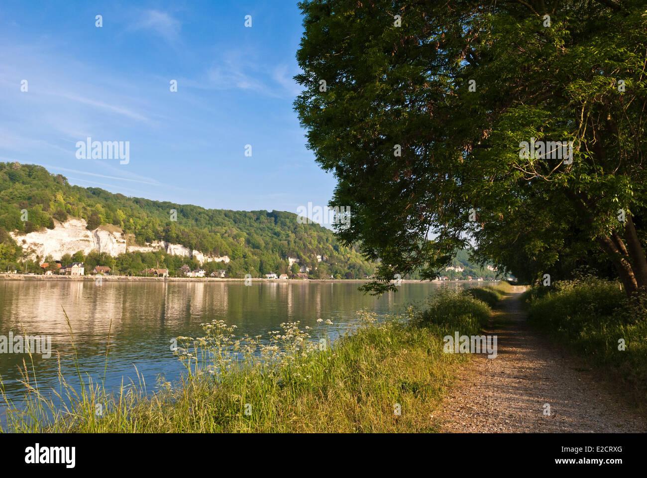 France Seine Maritime towpath near the Seine and La Bouille - Stock Image
