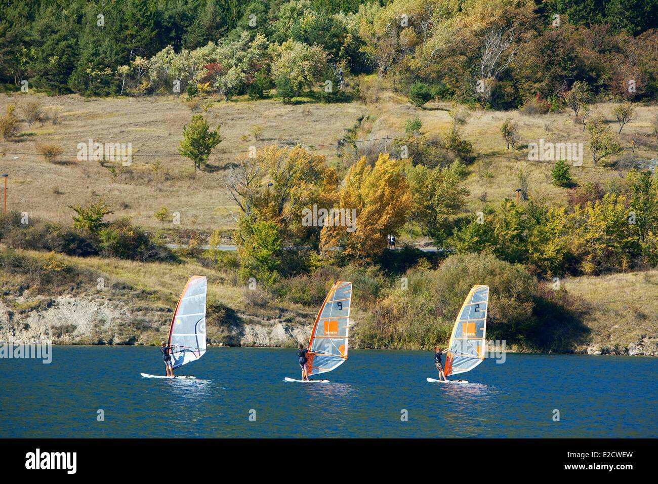 France Hautes Alpes Embrun water base and recreational windsurfing - Stock Image