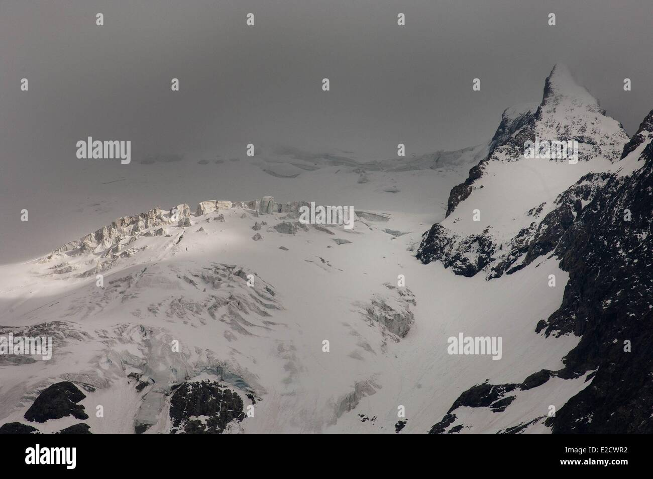 France Hautes Alpes Le Chazelet panorama on the Meije glaciers Stock Photo