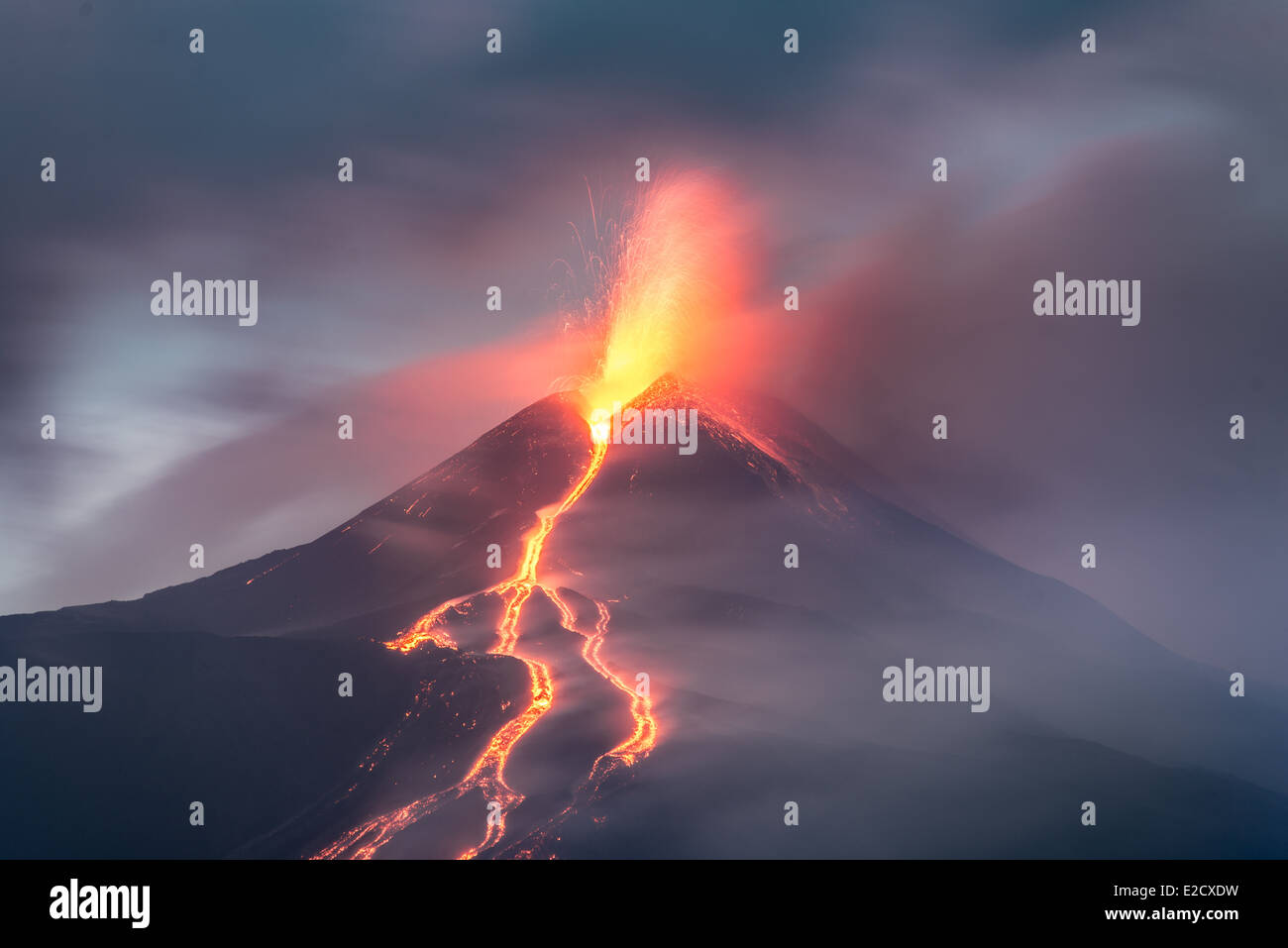Lava flows from an eruption at Mt Etna volcano - Stock Image
