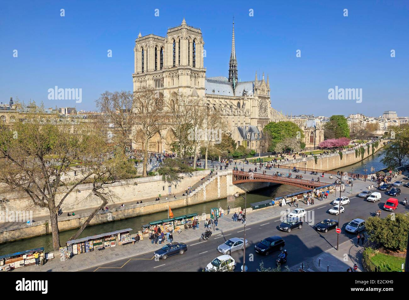 France Paris Seine river banks listed as World Heritage by UNESCO Notre Dame cathedral on the City island with book - Stock Image