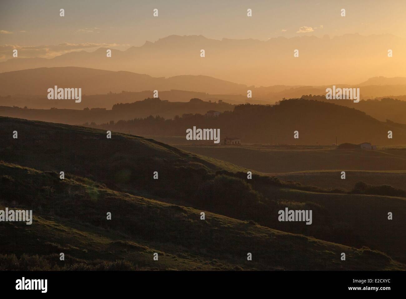 Spain Cantabria sunset over the Picos de Europa near San Vicente de la Barquera - Stock Image