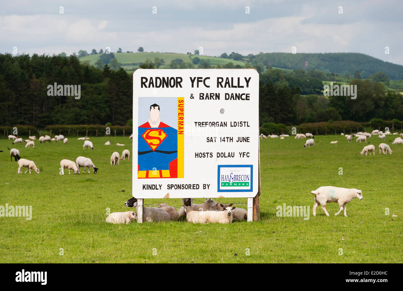 Sign advertising a Young Farmers' Club barn dance and rally, Radnorshire, Wales, UK - Stock Image