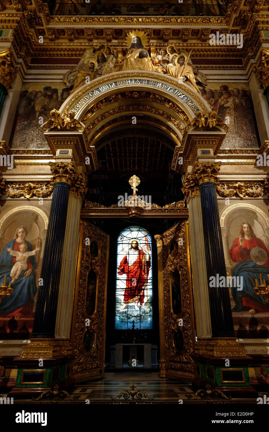 Russia Saint Petersburg listed as World Heritage by UNESCO interior view of St. Isaac's Cathedral - Stock Image