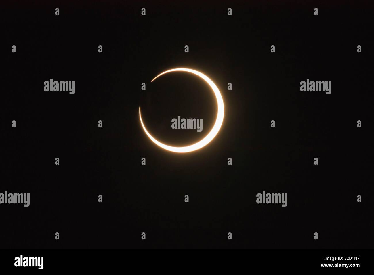 United States Arizona Navajo Nation Indian Reservation Monument Valley Tribal Park annular solar eclipse 2012 May - Stock Image