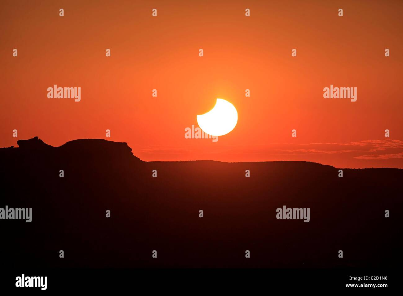 United States Arizona Navajo Nation Indian Reservation Monument Valley Tribal Park end phase at sunset of the annular - Stock Image
