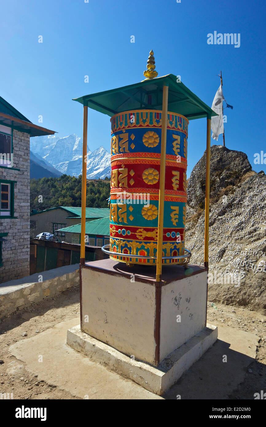 Buddhist prayer wheel above Namche Bazaar, Nepal, Asia - Stock Image
