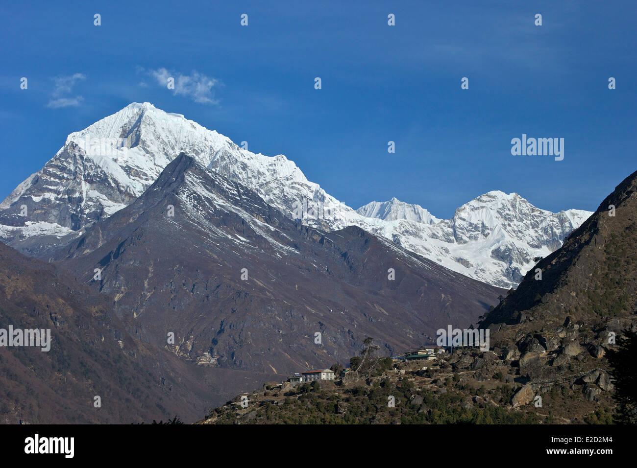 Sunder Peak taken from Namche Bazaar, Nepal, Asia - Stock Image