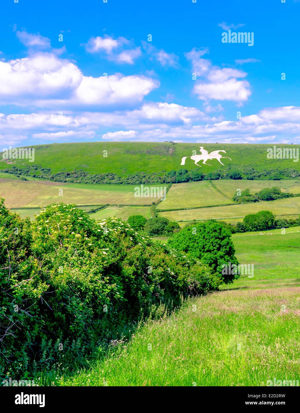 White Horse carved into chalk hillside in Osmington Dorset. Stock Photo