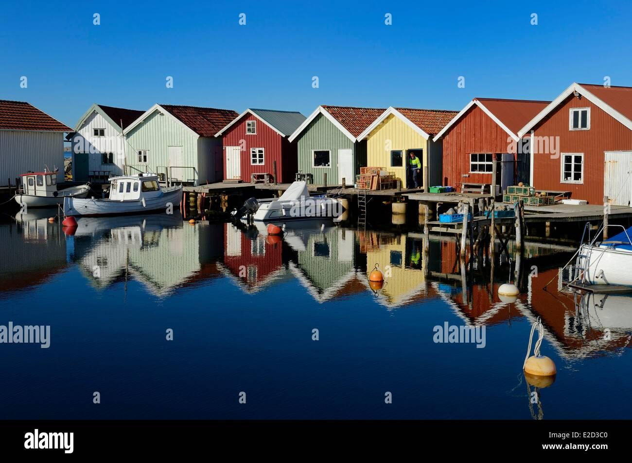 Sweden Vastra Gotaland Koster Islands Sydkoster fishing port of Brevik Stock Photo