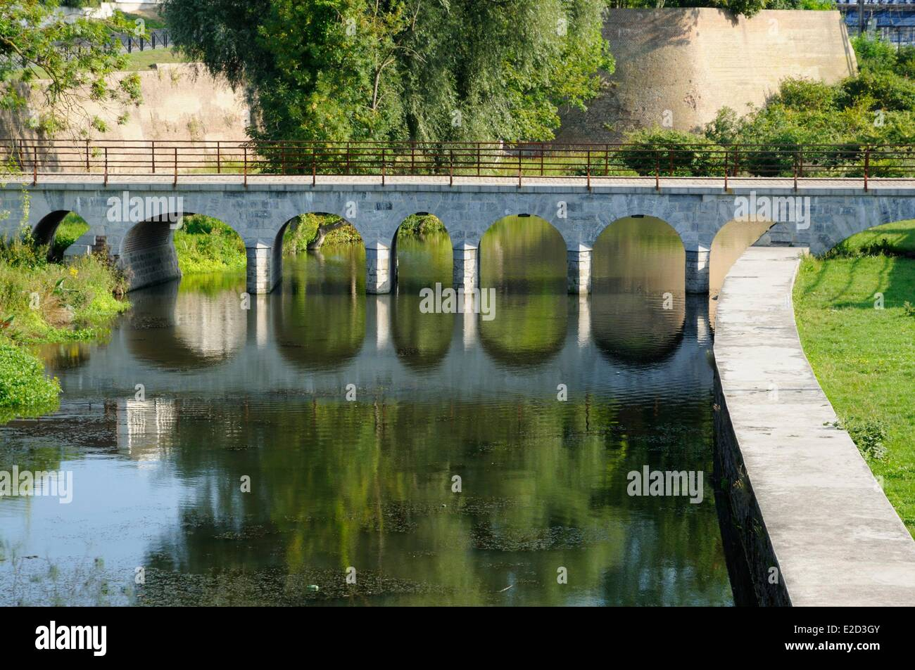 France Nord Valenciennes bridge over the moats filled with water - Stock Image