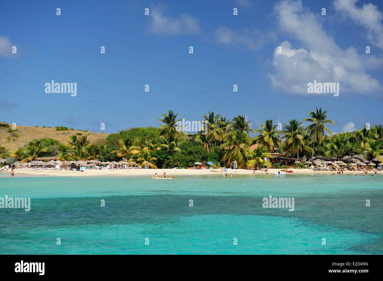 France Guadeloupe Saint Martin Cul de Sac Pinel Island exotic beach and its turquoise waters - Stock Image