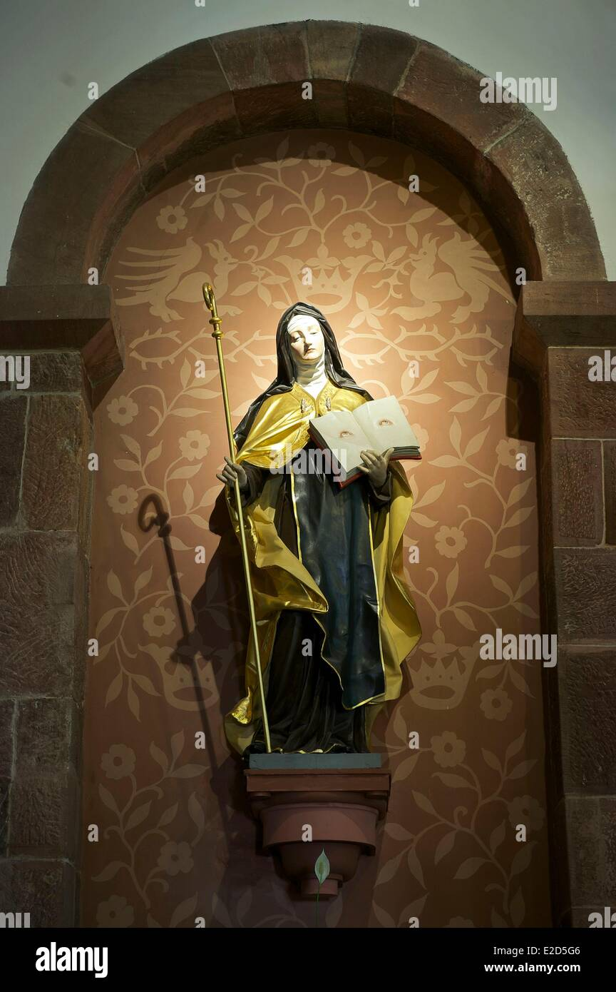 France Bas Rhin Mont Sainte Odile Sainte Odile convent the Church St Odile statue Stock Photo