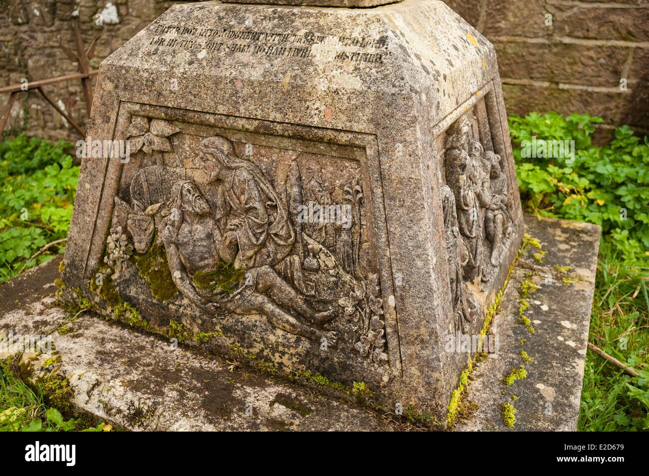 United Kingdom Northern Ireland County Antrim Cushendall celtic cross in the ruins of the church of Layde - Stock Image