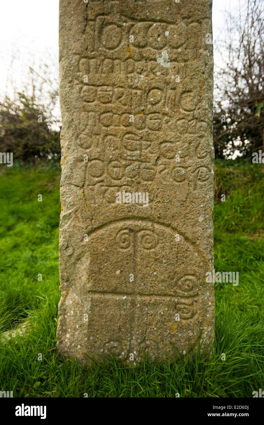 United Kingdom Northern Ireland County Down Celtic stone Kilnasaggart near Jonesborough is the oldest Christian - Stock Image
