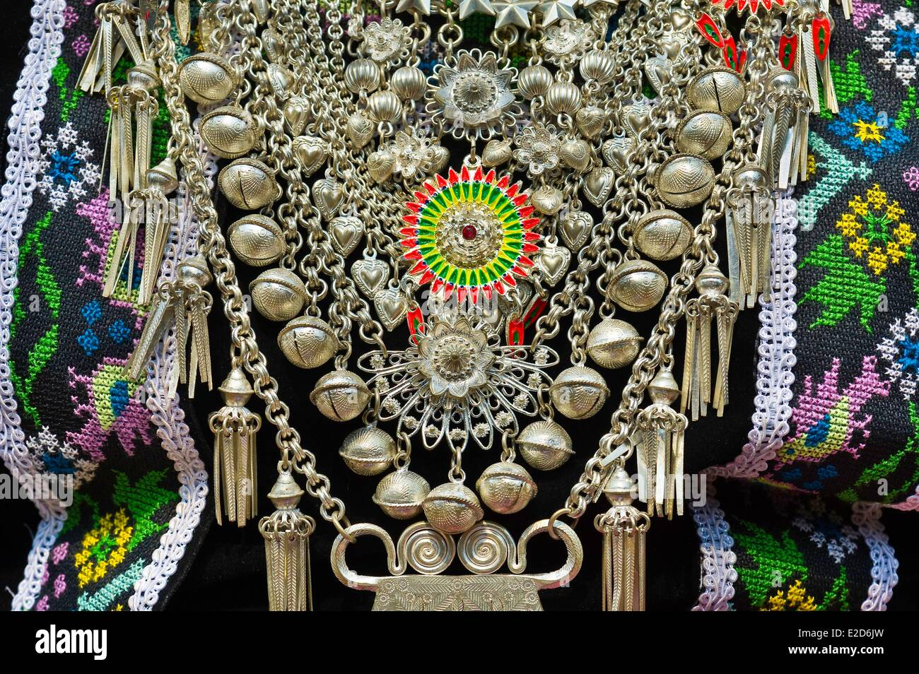 Laos Luang Prabang porvince Na Wan village Hmong detail of traditional Hmong costume silver jewelery - Stock Image