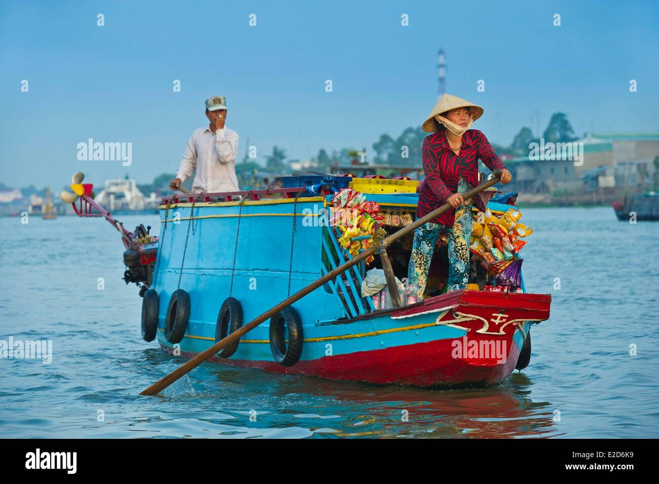 Vietnam An Giang porvince bordering Cambodia the Mekong Delta Chau Doc Town traveling grocery store on the floating - Stock Image