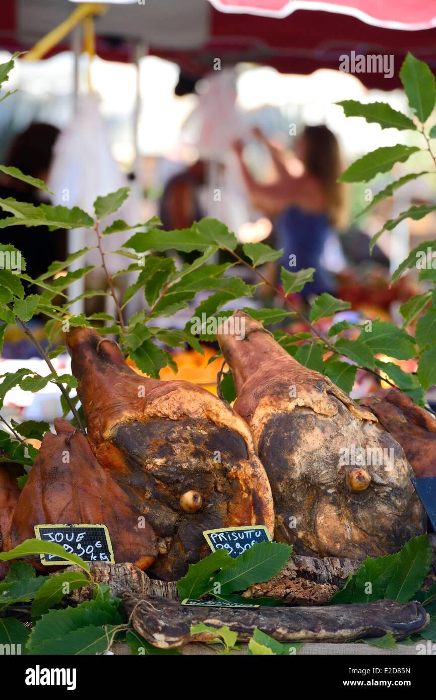 France Corse du Sud Ajaccio corsican ham on the market place Foch - Stock Image