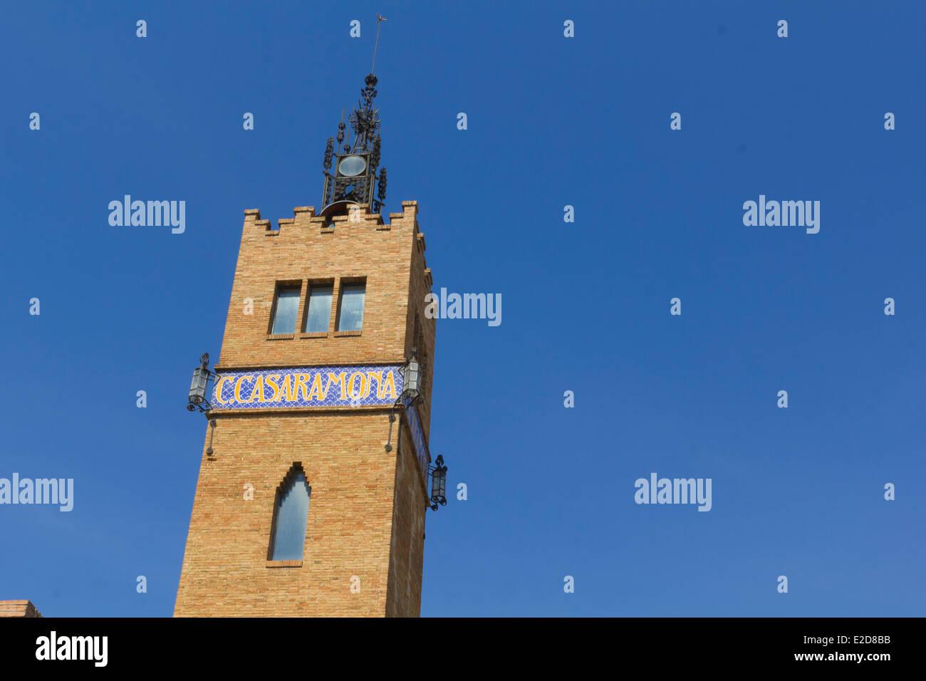 Casaramona Tower, former textile factory, Art Nouveau, 1911. Barcelona, Catalonia, Spain. - Stock Image
