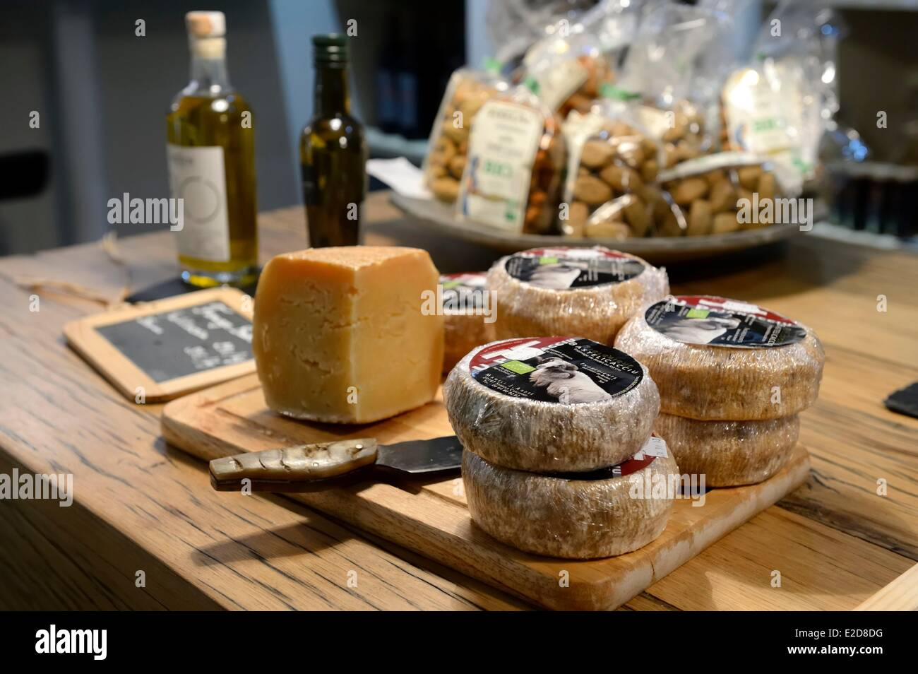 France Corse du Sud Ajaccio the organic concept store Kinov sale of cheeses and other Corsican products - Stock Image