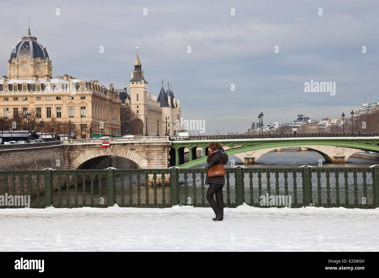 France Paris Seine river banks listed as World Heritage by UNESCO the bridge of Arcola and the Commercial Court - Stock Image