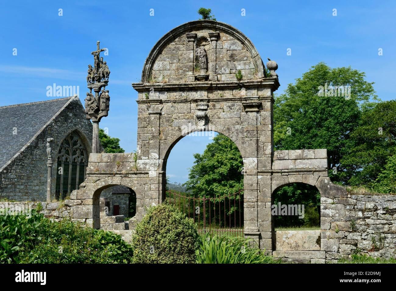 France Finistere Plomodiern Chapel Sainte Marie du Menez Hom the triumphal arch at the entrance to the parish enclosure - Stock Image