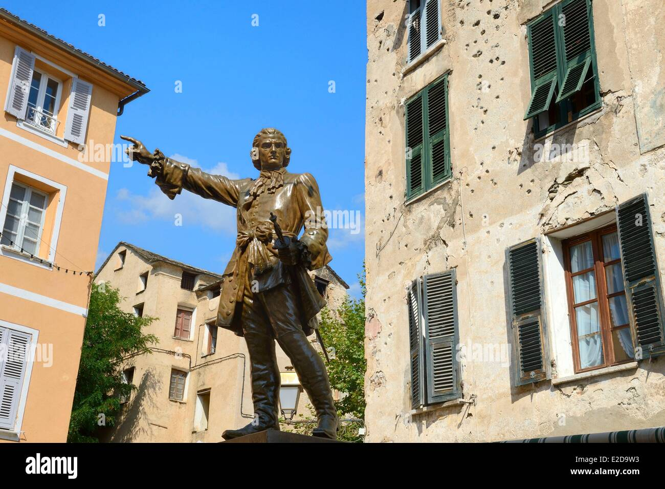 France, Haute Corse, Corte, the statue of a hero of the corsican revolution general Gaffori in front of his birthplace - Stock Image