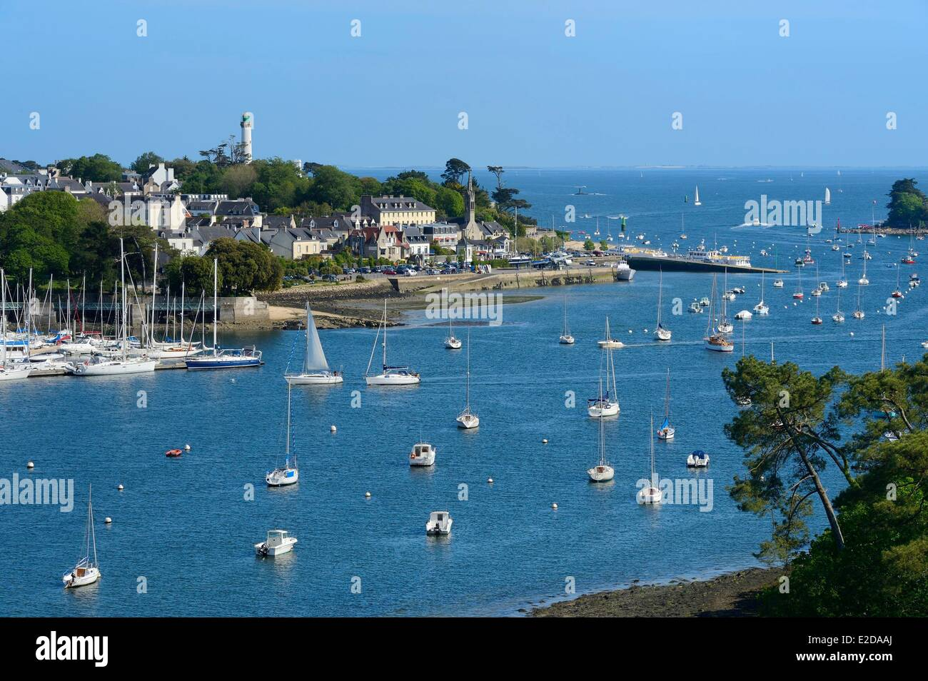 France, Finistere, Benodet and anchorage on the Odet river estuary - Stock Image