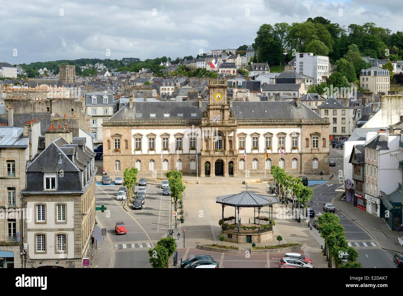 France Finistere Morlaix the city hall on the place des Otages and the Kiosk of 1903 - Stock Image