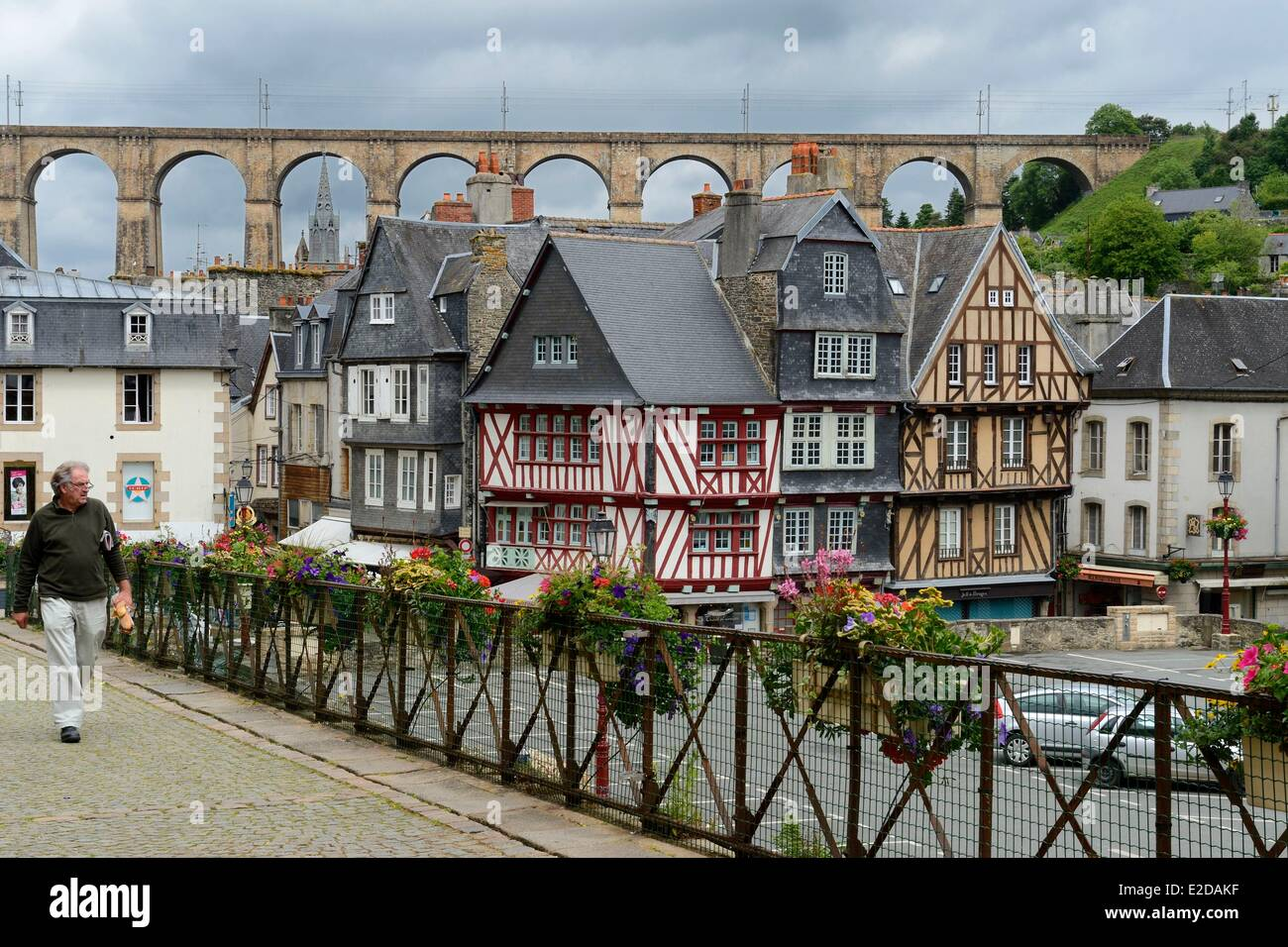 France Finistere Morlaix half timbered house place Allende - Stock Image