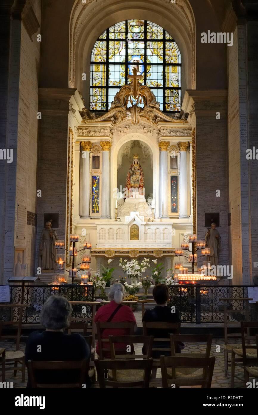 France, Ille et Vilaine, Rennes, Saint Sauveur basilica, altar of Notre Dame des Miracles revered by many Rennes Stock Photo