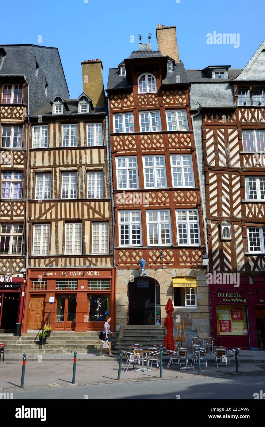 Delightful France, Ille Et Vilaine, Rennes, The Champ Jacquet Square Is Lined With 17th