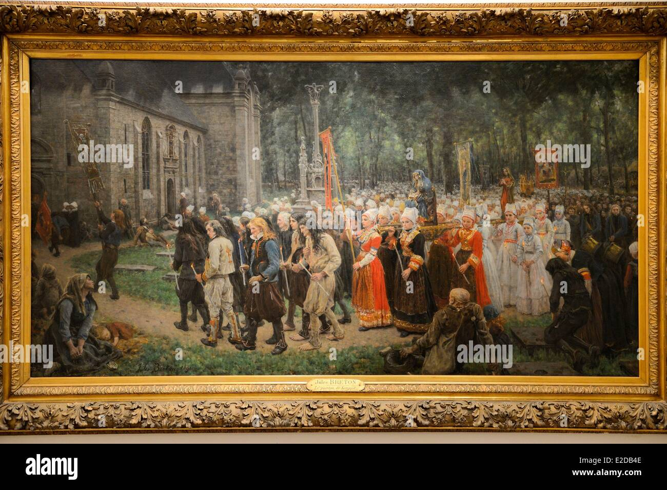 France, Finistere, Quimper, musee des Beaux Arts, The Pardon of Kergoat (1891) by the painter Jules Breton Stock Photo