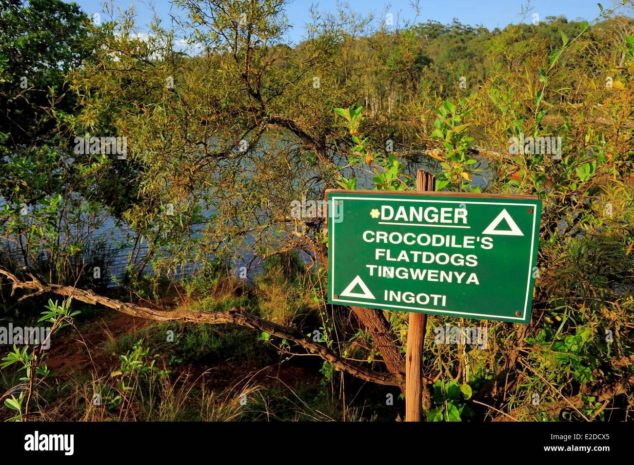 Swaziland Hhohho district Ezulwini valley (valley of Heaven) Mlilwane Wildlife Sanctuary beware of crocodiles Stock Photo