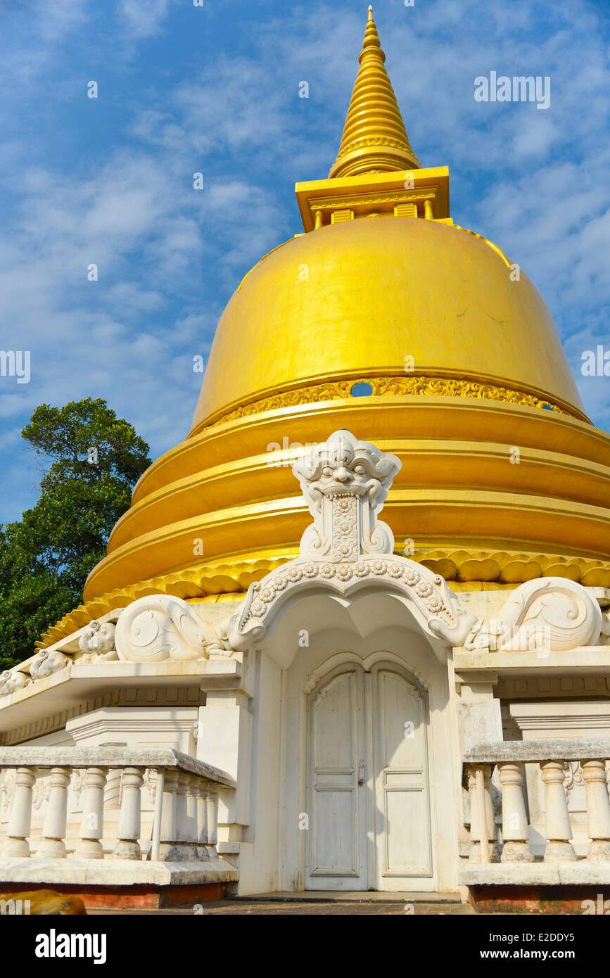 Sri Lanka Central Province Matale District Dambulla Stupa covered with gold leaves monument commemorating Buddha's - Stock Image