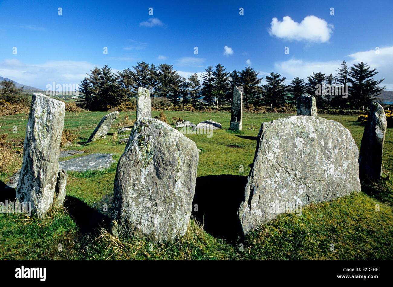 Ireland County Cork Casteltownbere Celtic stone circle of Derrintaggart - Stock Image