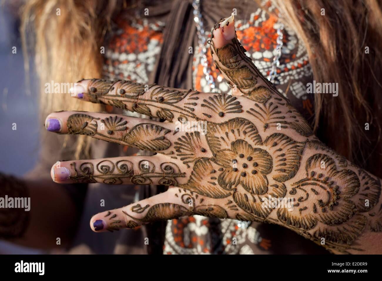 Morocco, Rabat, hand tattoo with henna - Stock Image