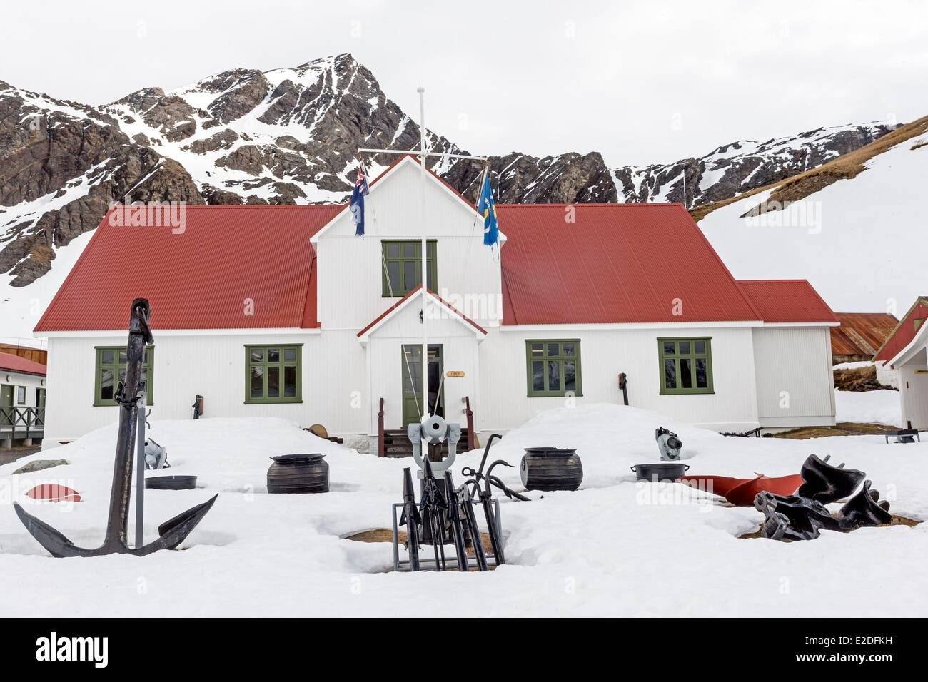 Antarctic, South Georgia Island, Whale station of Grytviken, Postoffice and museum - Stock Image