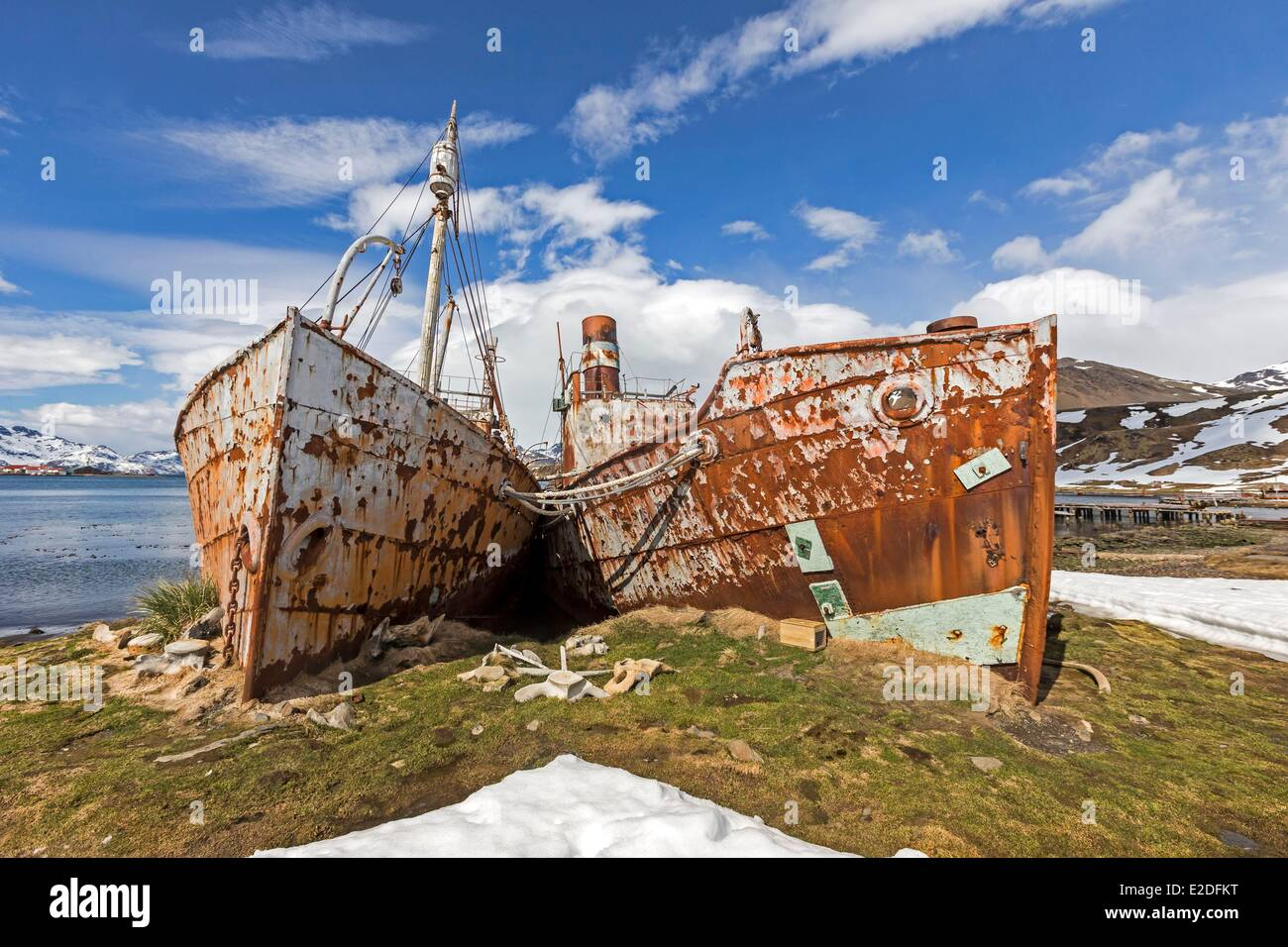 Antarctic, South Georgia Island, Whale station of Grytviken, remainings of the buildings - Stock Image