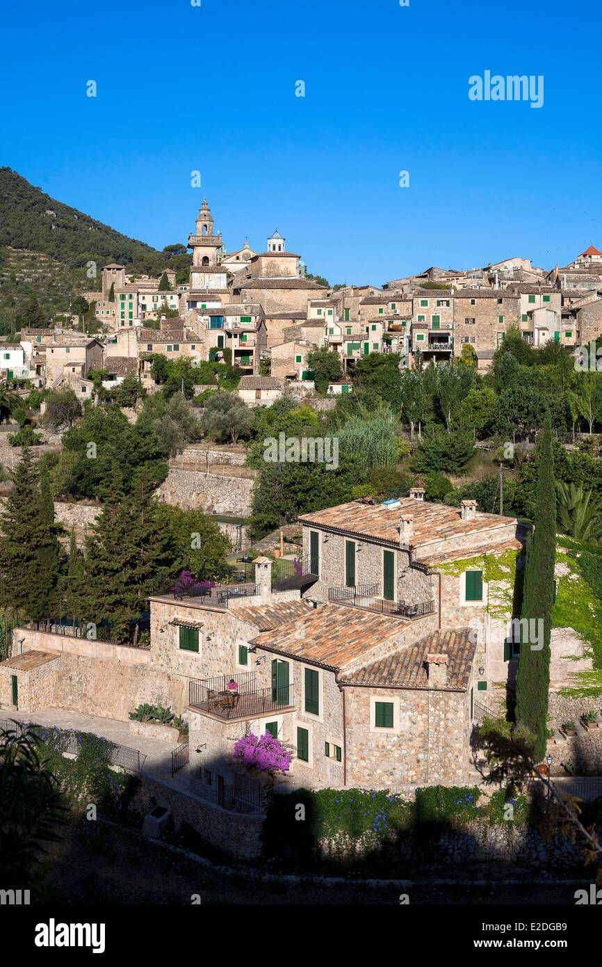 Spain, Balearic islands, Mallorca, Valldemosa, Monastery and the village Stock Photo