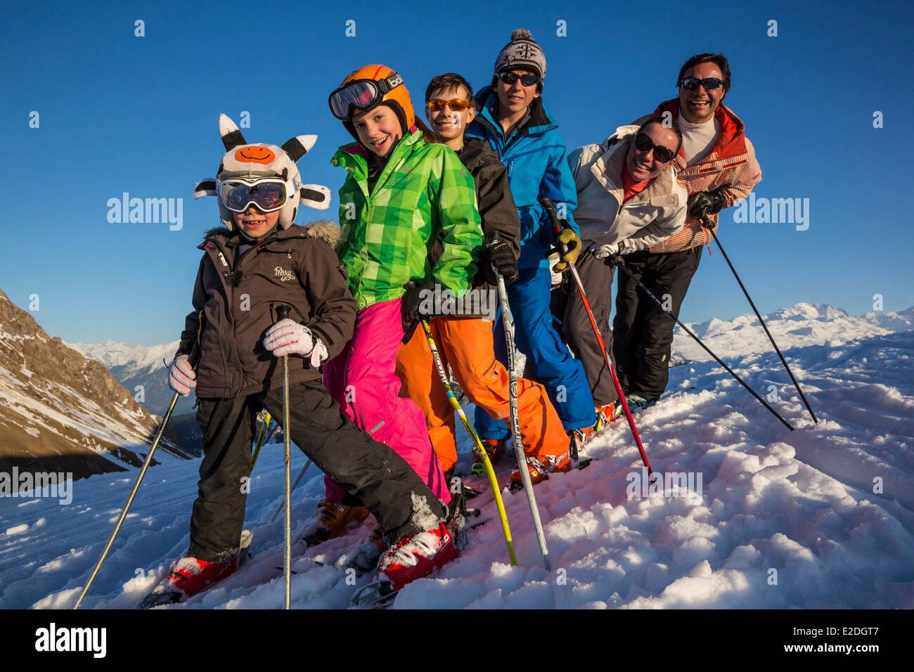 France Savoie Valmorel family on holidays massif of the Vanoise Tarentaise valley - Stock Image