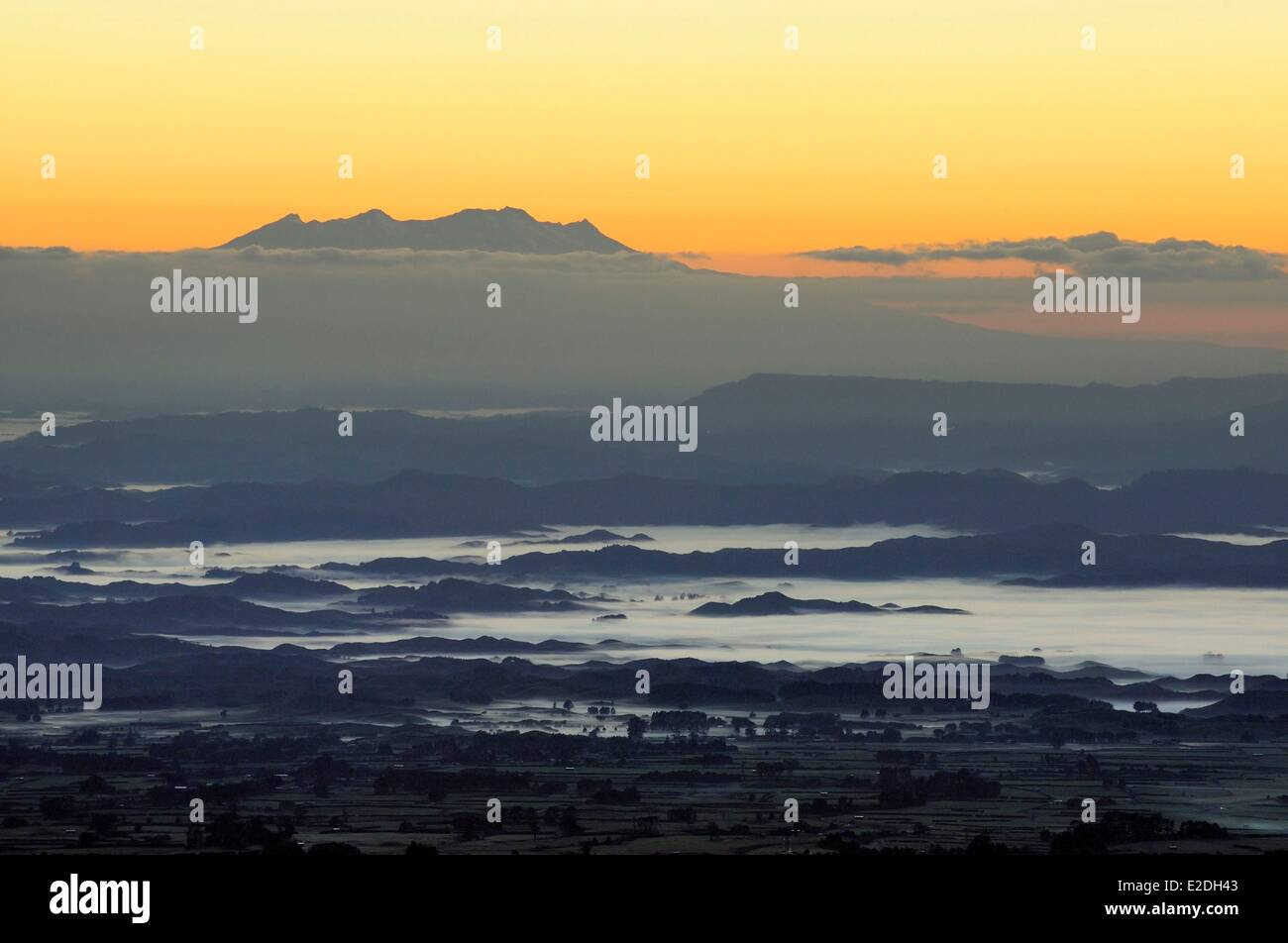 New Zealand, North island, Egmont National Park, panorama from the Mount Taranaki before sunrise - Stock Image