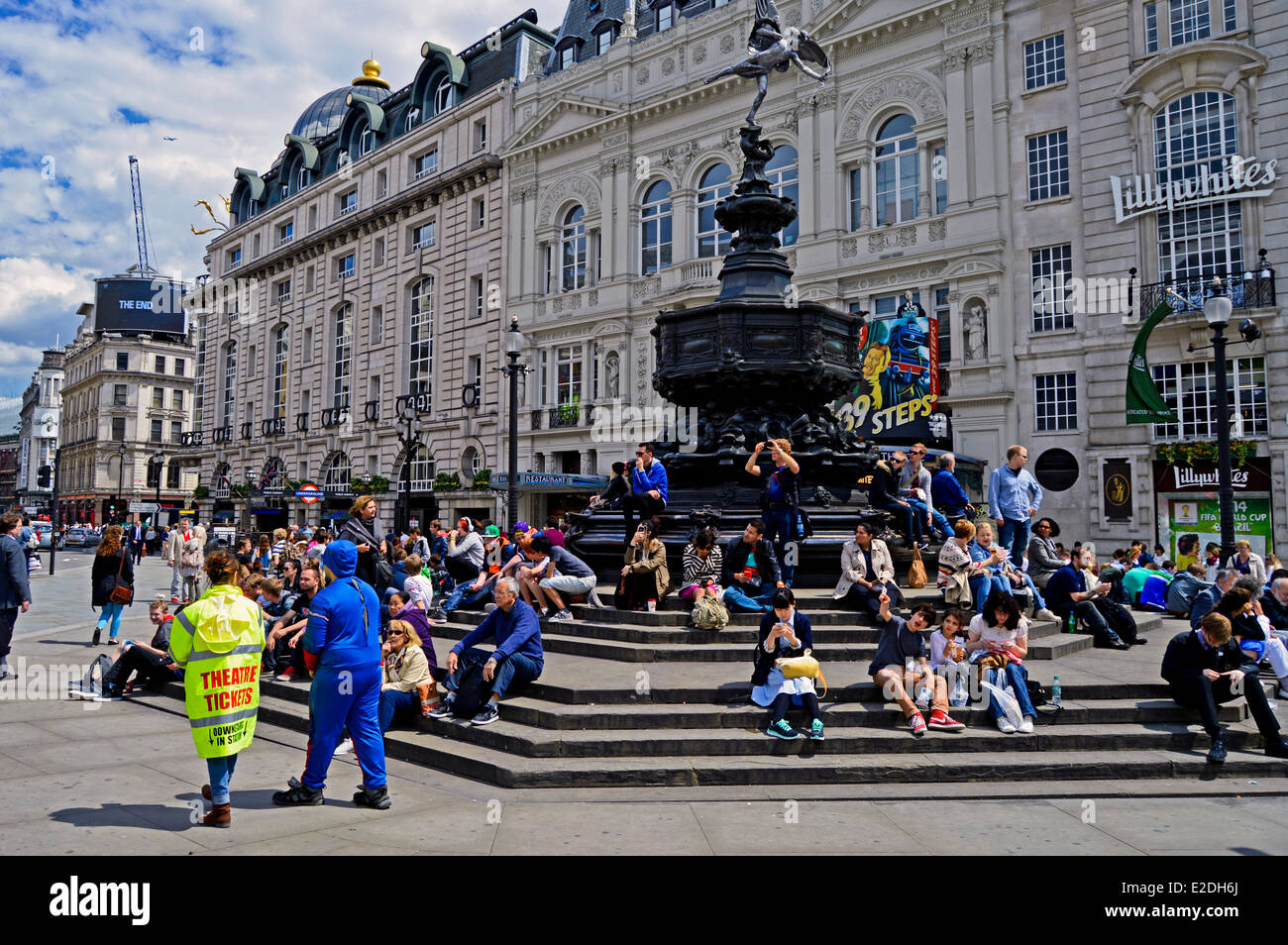 View of Shaftesbury Memorial and the Statue of Eros, Piccadilly Circus, West End, London, England, United Kingdom - Stock Image