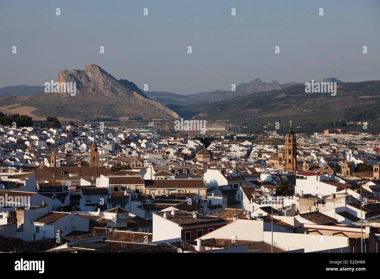 Spain, Andalusia, Antequera, white village, Penon de los Enamorados (Mount of lovers) - Stock Image