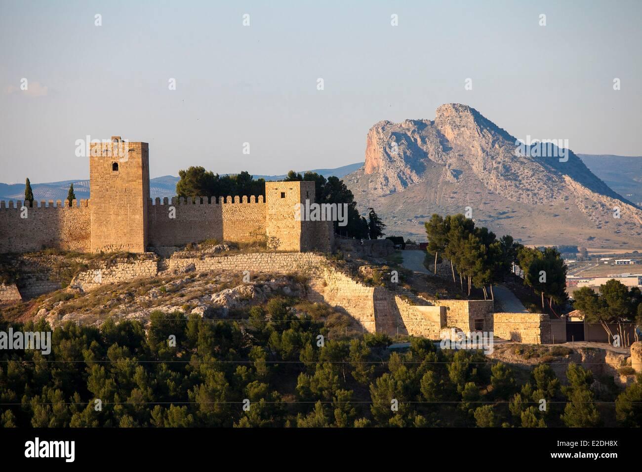 Spain, Andalusia, Antequera, Alcazaba and Pennon de los Enamorados (Mount of lovers) - Stock Image