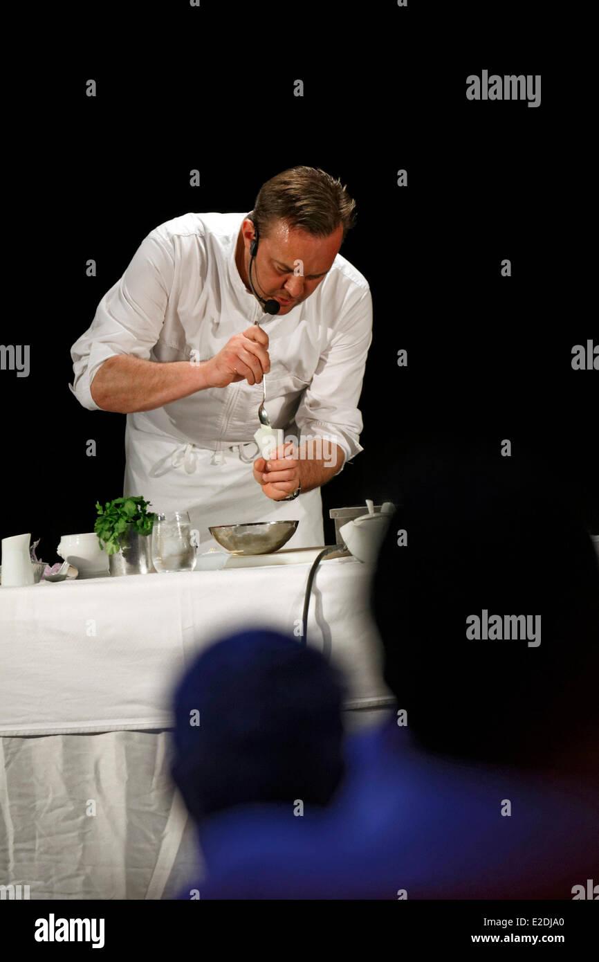 Spain Emmanuel Renaut former second of Marc Veyrat Auberge de l'Eridan restaurant he earned three Michelin stars - Stock Image