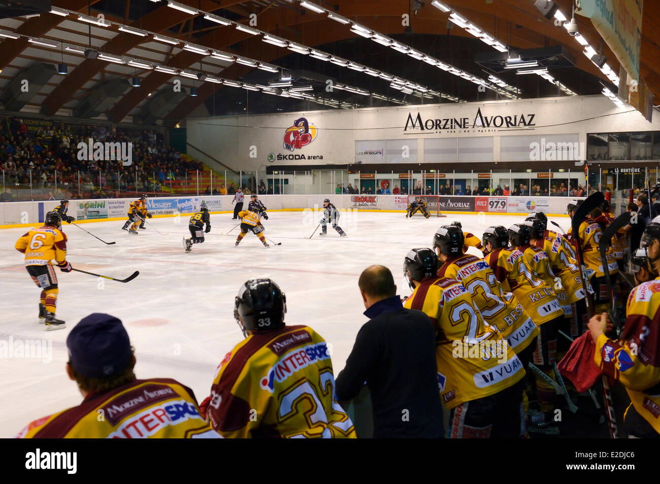 France Haute Savoie Morzine ice hockey game from the Morzine-Avoriaz Hockey Club called the Penguins - Stock Image