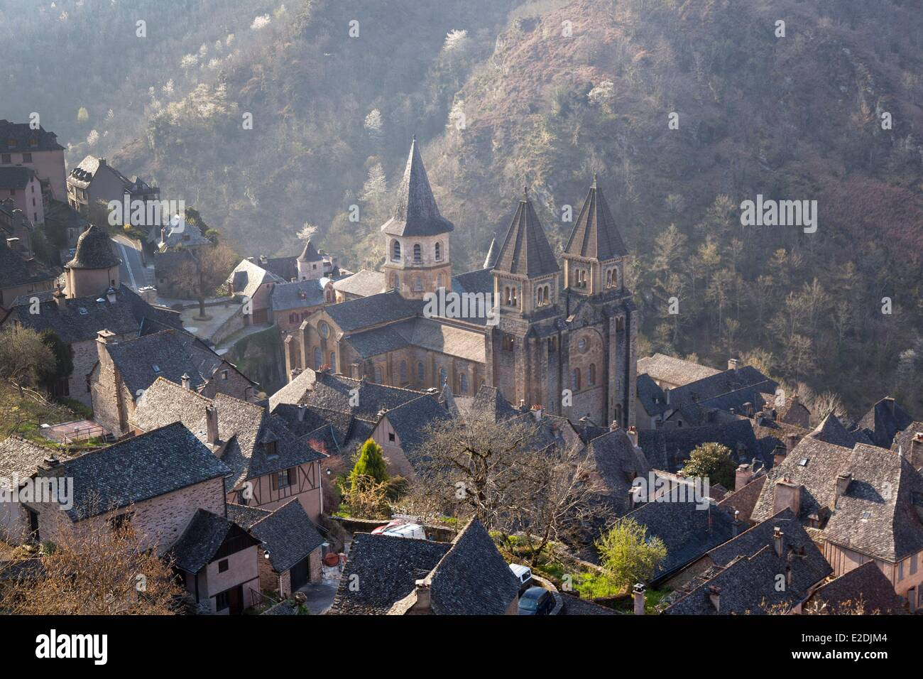 France Aveyron Conques labeled Les Plus Beaux Villages de France (The Most Beautiful Villages of France) stop on - Stock Image