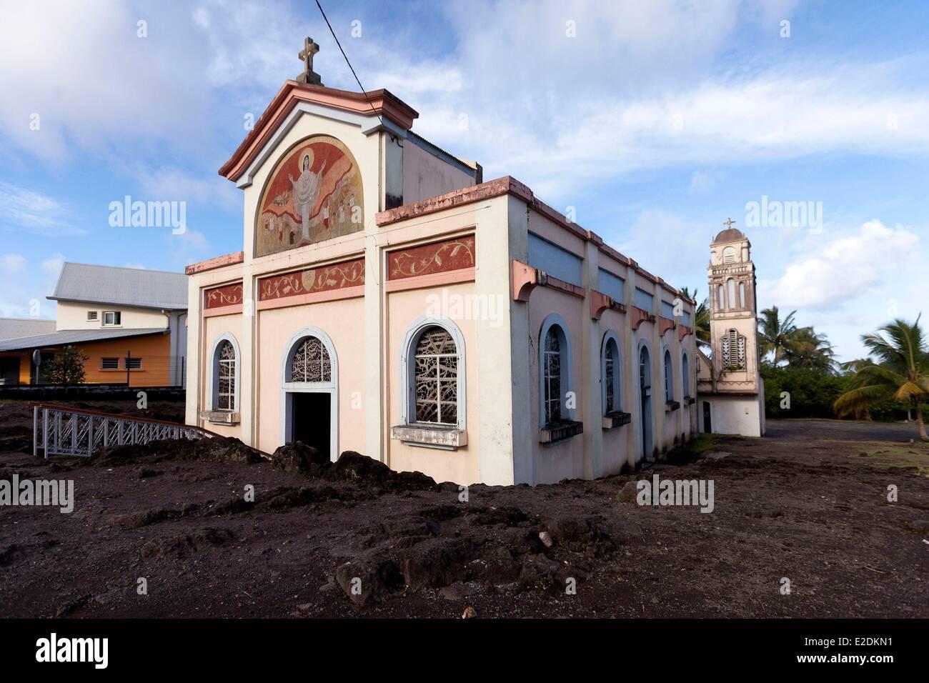 France, ile de la Reunion (French overseas department), south region, Notre Dame des Laves Church, surrounded by - Stock Image